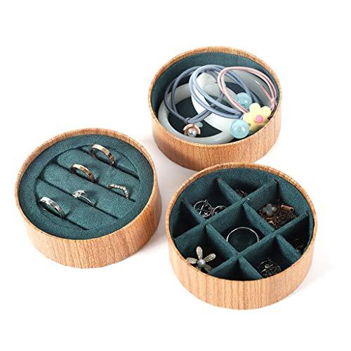 SHAMATE Caja de almacenamiento de joyas de madera de palisandro de 3 piezas con soporte para exhibición de anillos, color verde oscuro