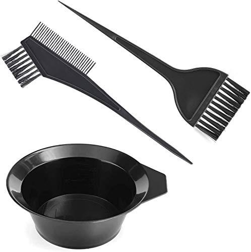 3Pcs Cheveux Coloration Outils, vr7 Cheveux Teinture Outil Set, Brosse Double Faces Coloriage Peigne Et Bol Set Kit DIY Salon …