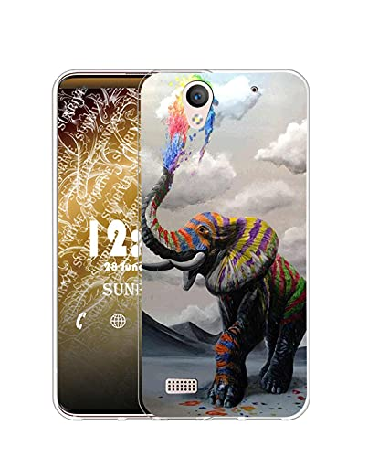 Sunrive Kompatibel mit Sony Xperia C4 Hülle Silikon, Transparent Handyhülle Schutzhülle Etui Hülle (Q Elefant 1)+Gratis Universal Eingabestift MEHRWEG