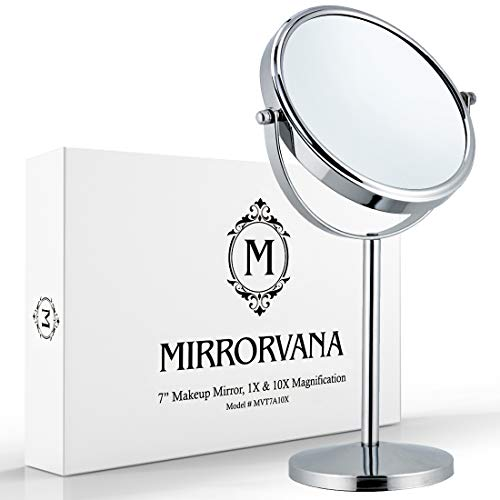 Mirrorvana 10X and 1X Double Sided Magnifying Makeup Mirror with Stand, 14' Height and 7' Diameter