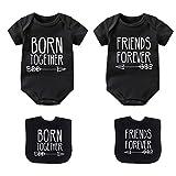YSCULBUTOL Baby Twins Bodysuits Best Friends Forever - Conjunto de ropa de bebé con baberos para niña con sombrero - negro - 9-12 meses
