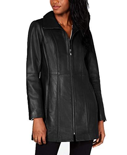 Anne Klein Plus Size Zip-Front Leather Jacket-Black-1X