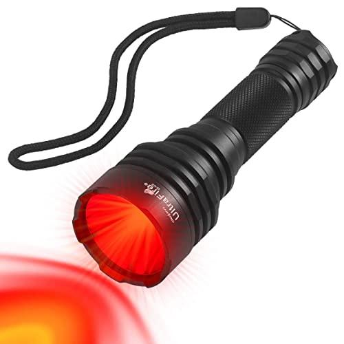 ULTRAFIRE Luz Roja Linterna LED 620nm 430 Yardas Caza Táctica, Incluye Batería 18650 y Cargador, 2 Soportes, Interruptor Cola, Caja Regalo, Lámpara IR Visión Nocturna, R-C8 ⭐