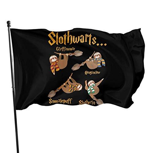 LAKILAN Banderas De Jardn,Bandera Brisa,Inicio Decorativo Al Aire Libre,Banderas De Vacaciones,150X90Cm Banner Disfraz De Halloween De Perezoso Divertido De Slothwarts