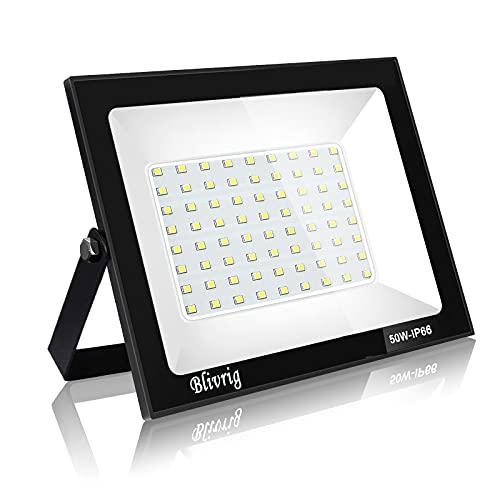 Blivrig 50w foco led exterior,IP66 Impermeable, 5000LM led exterior Blanco Frío 6000K, Foco LED Disipación de calor eficiente, Foco para Iluminación de Seguridad para Jardín, Garaje, Hotel, Patio.