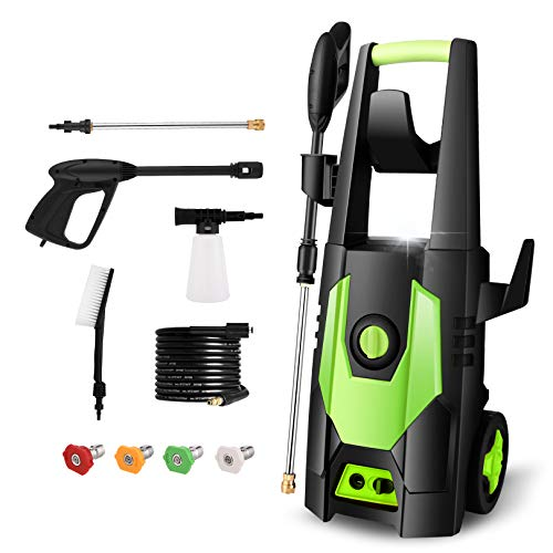 mrliance 3600PSI Electric Power Washer 1800W 2.0GPM House High Pressure Washer with 4 Adjustable Nozzles, Spray Gun and Detergent Bottle for Cars Fences Patios Garden Cleaning,Green