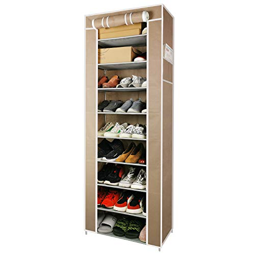 S&W Manufacturing WS 10 Tiers Shoe Rack with Dustproof Cover Closet Shoe Storage Cabinet...