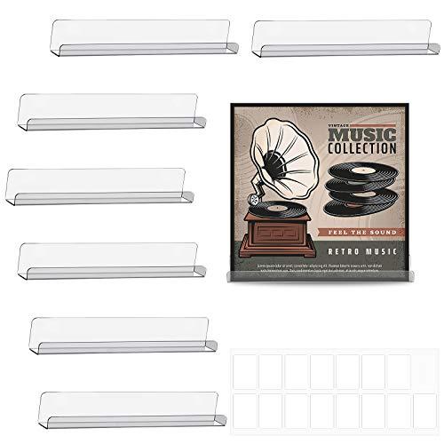 8 Stücke Vinyl Schallplatte Regal Wand Schallplatte Rahmen Display Regal Acryl Wandregal mit 2 Blättern Klarem Doppelseitigem Klebeband für Schallplatten Sammlung, Kein Loch Design (Klar)