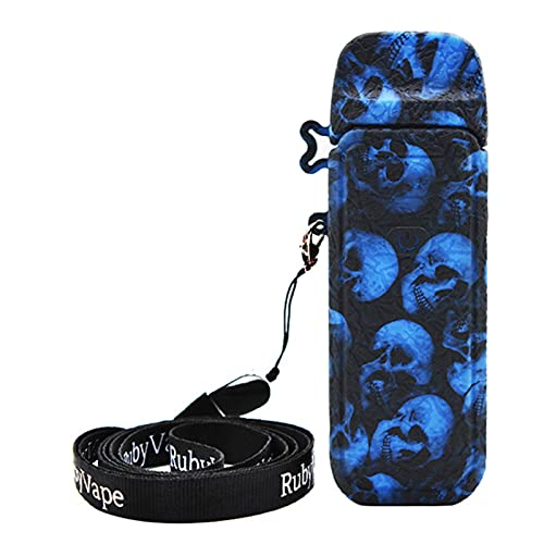 DrafTor Funda para cigarrillo electrónico VAPORESSO LUXE PM40, diseño de cráneo, silicona antideslizante, con cordón, sin nicotina, color azul
