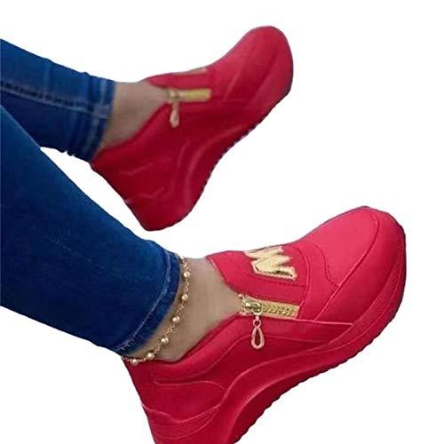 Zapatillas De Talón Ligeras De La Pendiente De Las Mujeres, Agregue Zapatos De Caminar Ortopédicos De Plataforma De Cremallera Lateral para Mujer(Size:42,Color:B)
