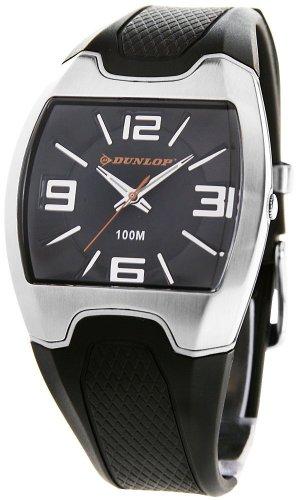 Dunlop DRUGG1 - Reloj analógico de caballero de cuarzo con correa de goma negra - sumergible a 100 metros