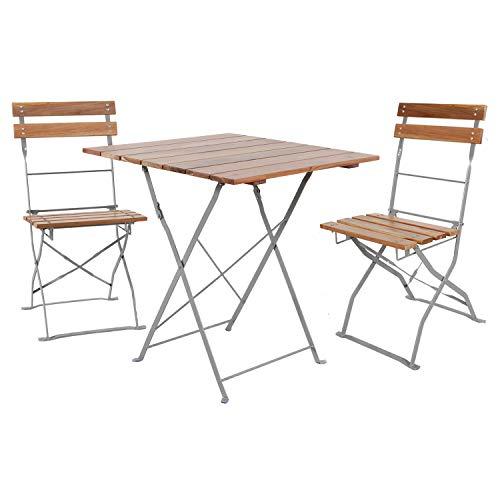 Mojawo Juego de muebles de jardín de 3 piezas, mesa plegable y 2 sillas plegables de madera de acacia y acero pulverizado, 70 x 70 cm