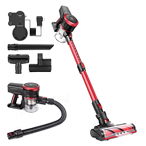 Cordless Vacuum Cleaner, 23Kpa Powerful Suction Stick Vacuums 10 in 1 Design Brushless Motor with Detachable Battery Multi-attachments Ultra-Quiet Lightweight Vacuum for Car Pet Hair Carpet Hard Floor