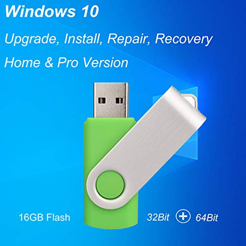 ILamourCar USB for Windows 10 Repair Recovery Install Restore Boot Fix Flash Drive, 32&64 Bit Systems Home&Professional, Antivirus Protection&Drivers Software, 16 GB USB for Desktop&Laptop - Green