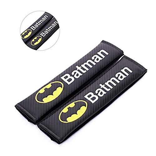 fanlinxin 2 pcs en Fibre de Carbone + Broderie de Voiture Ceinture de sécurité Couverture Pad épaule Coussin pour Batman