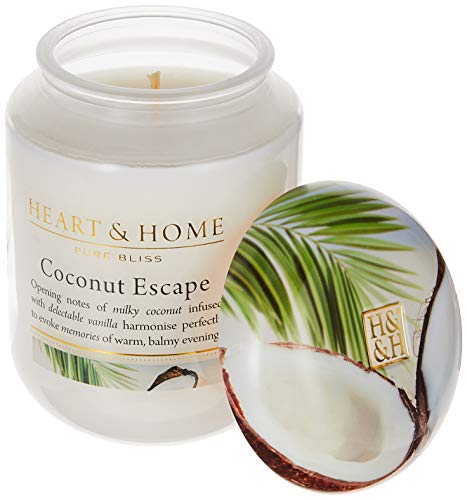 Heart & Home - Fragrant Large Jar Candle - Coconut Escape - Decorative Lid - Large