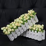 XuanMax 2pcs Roses Kunstblumen mit Zaun Kunstpflanzen mit Topf Künstliche Blumen im Pot Künstliche Pflanzen Gefälschte Topfpflanzen Bonsai Dekoartikel Ornamente 30 * 7.5 * 12cm – Farben Mischen - 9