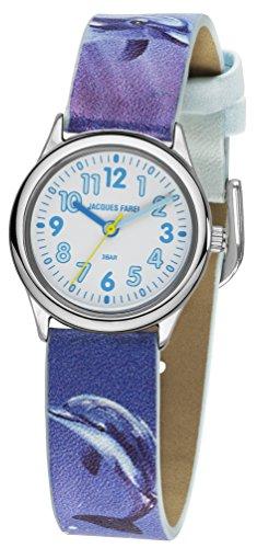 JACQUES FAREL Kinder-Armbanduhr Mädchen Delphin Analog Quarz Metall Leatherette HCC 321