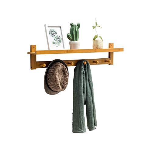 VOAOV Wandgarderobe Holz, Bambusrattan Badregal, Mehrzweckgarderobe Platzsparende, mit 6 Garderobenhaken, Terrace, Diele, Bad, Jacken, Schals, Handtaschen
