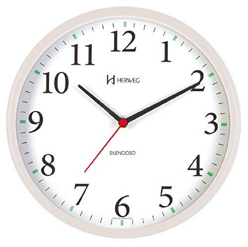 Relógio de Parede Silencioso Redondo Branco Herweg 6126S-21