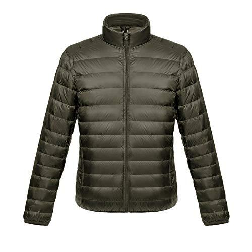 CamiiMiaMen'sUltraLightweight Winter Coat PackableWaterResistantPufferDownJacket (Large, Army Green)