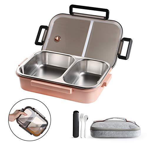 WORTHBUY Stainless Steel Lunch Container, 2 Section Design, Keep Foods Separated, Metal Bento Box with Insulated Lunch Bag Portable Utensil, Kids/Women/Adults, BPA-Free(2nd Generation, Pink)
