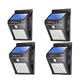 LIDIWEE 4 piezas x 30LED con energía solar Sensor de movimiento PIR Luz de seguridad de pared Jardín Lámpara para exteriores Iluminación con 3 modos
