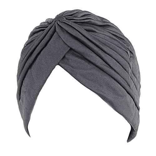 Rk-Hytqwr Mya Mujeres Hombres Turbante Banda para la cabeza Banda de quimioterapia Hijab Gorra india plisada Gorra india turbante de dama musulmana, Turbante de dama musulmana Gris oscuro, Gris oscuro