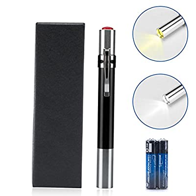 Opoway Led Pen light for Nurses - Medical Penlight Nursing with White & Warm Led Light for Nurses Students Doctors Diagnostic (Shine black)