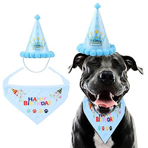 iFCOW Huisdier Hond Verjaardag Bandana Cone Hoed Driehoek Sjaal met Verjaardag Print Huisdier Verjaardag Outfit Decoratie Set, luchtblauw