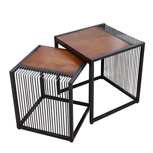 YF-Mirror Juego de 2 mesas Nido, Mesa de Centro apilable, Mesa Auxiliar Cuadrada para balcón de Sala de Estar, Estructura de Metal y Tablero de Madera, marrón