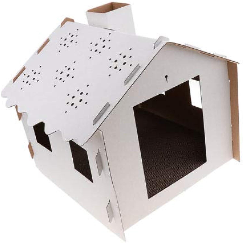 FidgetFidget Cat House Scratcher Bed Pet Indoor Corrugated Cardboard Scratch House White