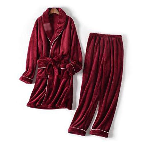 AYDQC Otoño Invierno Conjuntos de Pijamas cálidos para Las Mujeres Gruesas Franela Coral Manga Larga Hembra Pijama Pijama Pijama Conjunto Ropa de Dormir Ropa de hogar (Color : A, Size : Medium)
