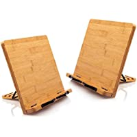 2-Pack Pipishell Bamboo Book Stand with 5 Adjustable Height