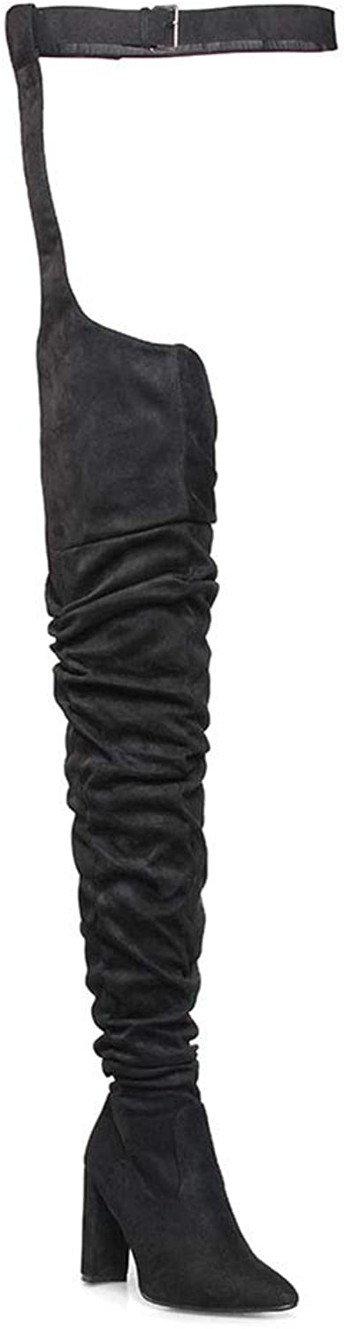 Women's Long Boots, Knight Boots, Sexy Over The Knee Boots High Heels Black Boots, Pointed Toe Stilettos Fetish High Heels Night Club shoes (color   Black, Size   41)