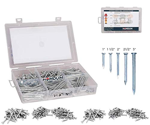 "Homdum Assorted Hard Steel Concrete Nails (1""-1½""-2""-2½"" -3"") Pack contains 260 Pcs of 5 sizes (5 Sizes)"