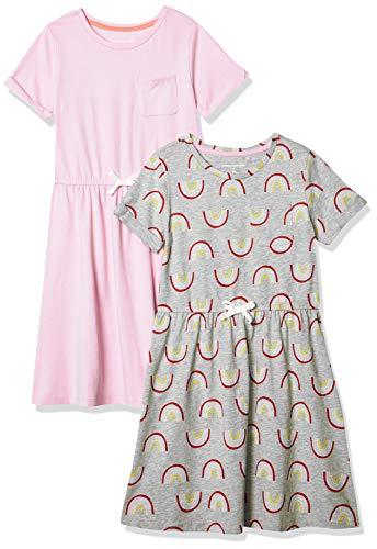Amazon Essentials Girls' Big 2-Pack Short-Sleeve Elastic Waist T-Shirt Dress, Rainbow/Purple, L