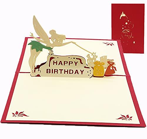 Glückwunschkarte Grußkarten,3D Pop-up-Grußkarte mit schönen Papier-Cut,Gefaltete 3D Karte,Umschlag Enthalten (A-Geburtstag)