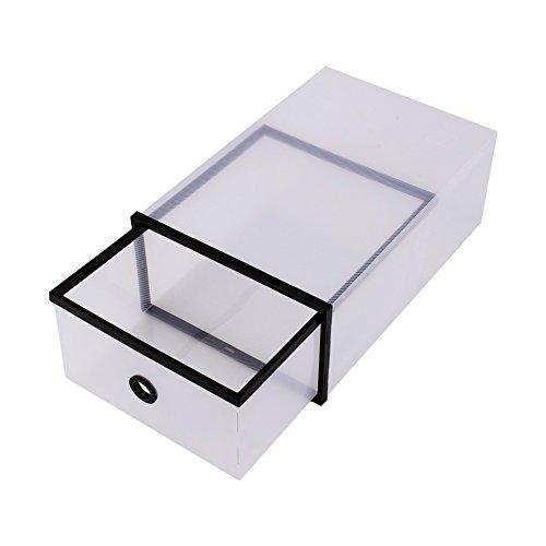 Dewin Możliwość układania w stos przezroczysty – prosty plastikowy pojemnik na buty, skrzynka główna, organizer biurowy (kolor: czarny)