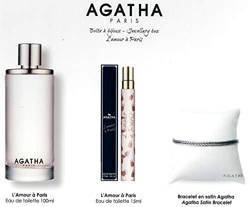 AGATHA Coffret boite a bijoux L'Amour à Paris Eau de Toilette 100 ml + Eau de toilette 15 ml + Bracelet en satin AGATHA