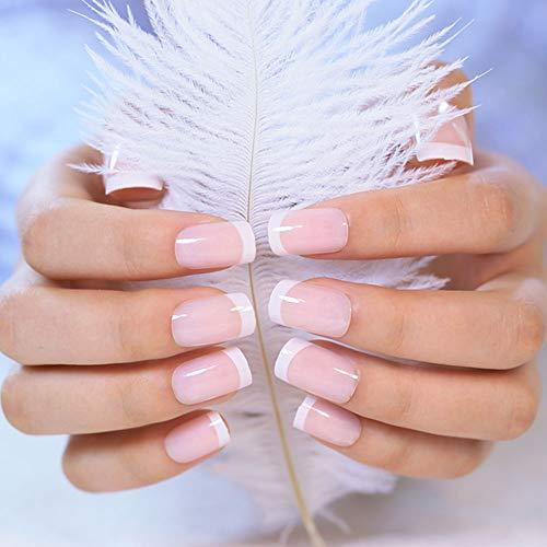 LIARTY 240 Stück Französisch Gefälschte Nägel Natürlich Lang Natur Runde Holo Fake Nails Falsche Nägel Mit für Damen Frauen mit Klebepads