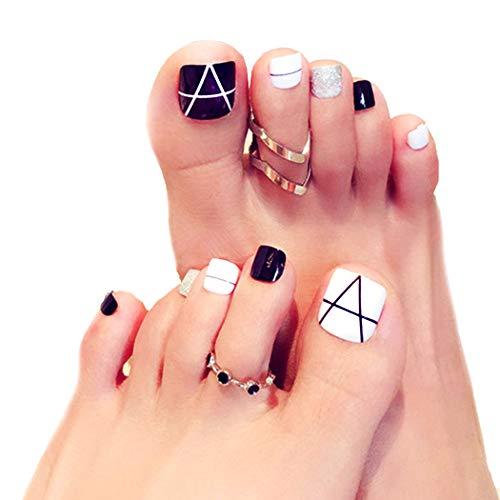 Fairvir Líneas geométricas falsas uñas de los pies doradas lentejuelas cubierta completa acrílico 24 piezas...