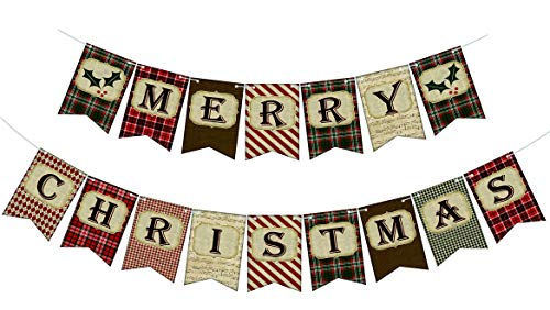 Vintage Merry Christmas Banner Christmas Rustic Bunting Banner Xmas Hanging Decorations Christmas Decorations for Home Office Party Wall Tree Fireplace Mantle