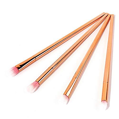 WDLSWDY Synthétique Premium 4 pièces en Or Rose Pinceau Fard à paupières Kit de Maquillage des Yeux en Forme de Losange poignée en Plastique Eye Brosse Compact et léger Pack
