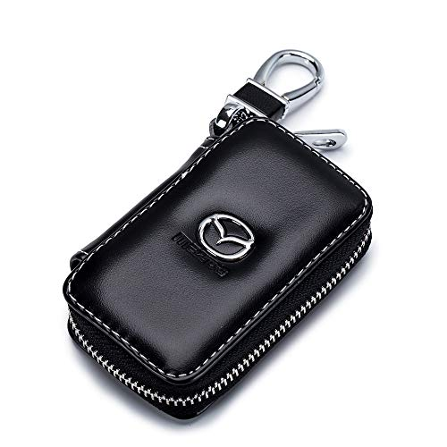 QZS Mazda-Schlüsseletui für Autoschlüssel, mit Reißverschluss, Schwarz