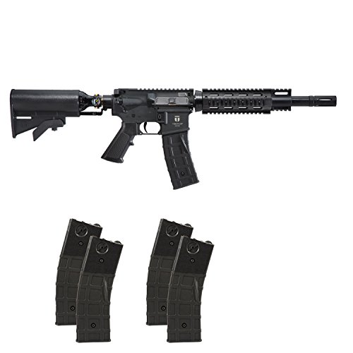 First Strike Tiberius Arms T15 Paintball Marker Gun Rifle - Black w/ 4 Extra Mags