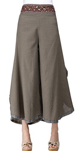 Feoya Damen Freizeithosen Weite Beine Hosen Baumwolle Leinen 9/10 Lange Gerade Hosen Starandhose Lose Palazzo Hosen Einfarbig Hipster Style