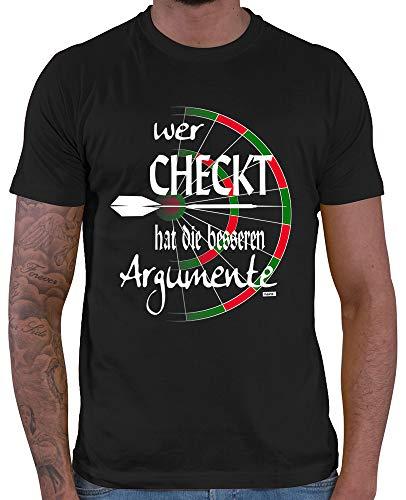 HARIZ Herren T-Shirt Wer Checkt Hat Die Besseren Argumente Dart Sprüche Dartscheibe WM Plus Geschenkkarten Schwarz 3XL