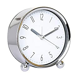 Cute 4 in Alarm Clock Small Table Clock Non-tick Round Silent Analog Alarm Clock Battery Powered Bedside Alarm Clock Travel Clock (White)