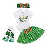 Julhold Conjunto de 4 piezas para bebés y niñas con trébol de cuatro hojas para el día de San Patricio, falda tutú con moño y estampado de letras